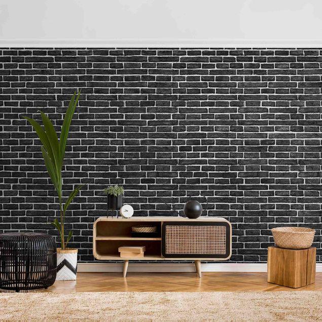 Metallic Tapete  - Backsteinwand schwarz