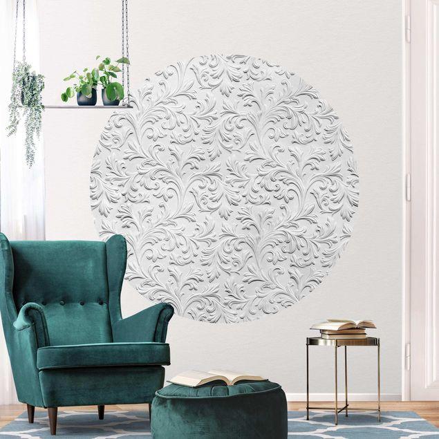 Runde Tapete selbstklebend - Barock Muster Gipsoptik