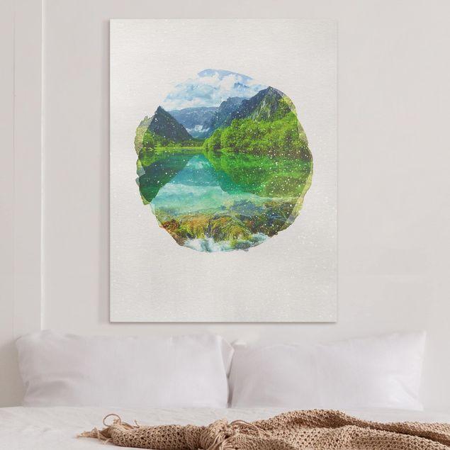 Leinwandbild - Wasserfarben - Bergsee mit Spiegelung - Hochformat 4:3