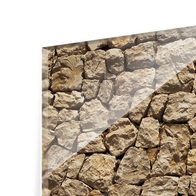Glas Spritzschutz - Alte Wand aus Pflasterstein - Querformat - 4:3