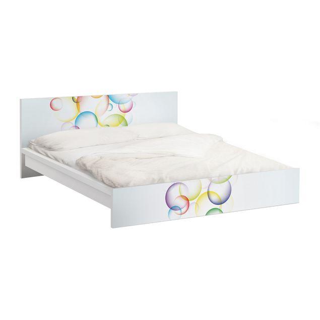 Möbelfolie für IKEA Malm Bett niedrig 160x200cm - Klebefolie Rainbow Bubbles