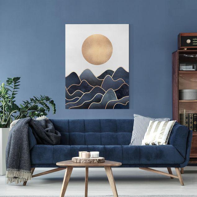 Leinwandbild - Goldene Sonne blaue Wellen - Hochformat 4:3