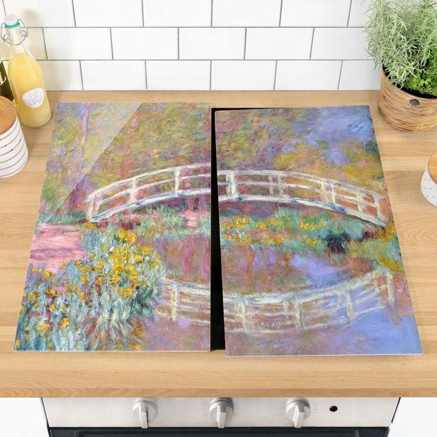 Herdabdeckplatte Glas - Claude Monet - Brücke Monets Garten - 52x80cm