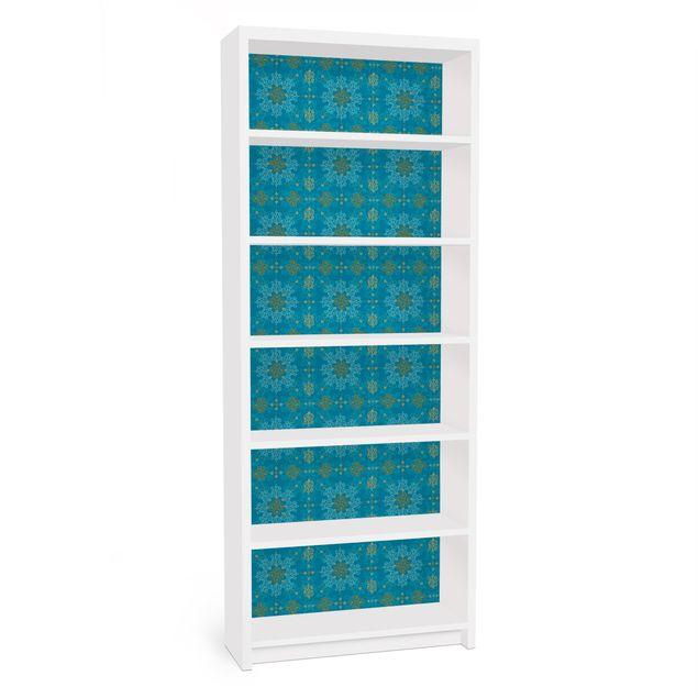 Möbelfolie für IKEA Billy Regal - Klebefolie Orientalisches Ornament Türkis