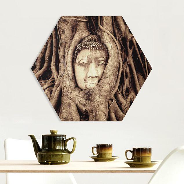 Hexagon Bild Forex - Buddha in Ayutthaya von Baumwurzeln gesäumt in Braun