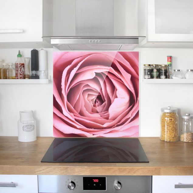 Spritzschutz Glas - Rosa Rosenblüte - Quadrat 1:1