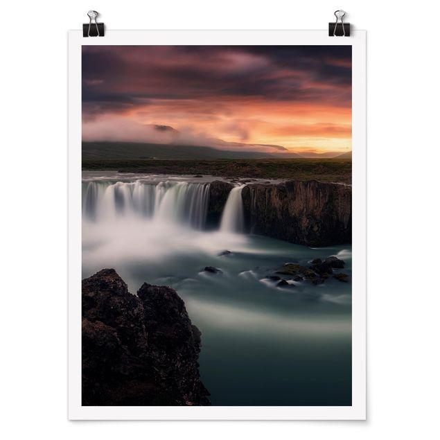 Poster - Goðafoss Wasserfall in Island - Hochformat 3:4
