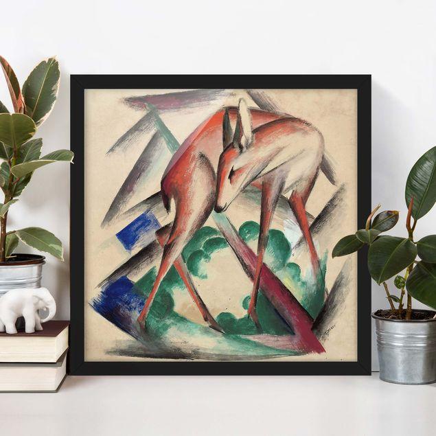 Bild mit Rahmen - Franz Marc - Reh - Quadrat 1:1