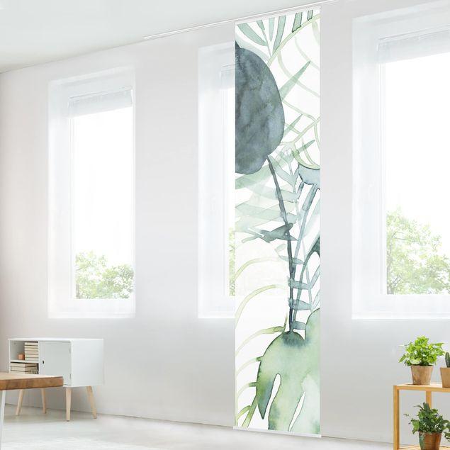 Schiebegardinen Set - Palmwedel in Wasserfarbe II - Flächenvorhang