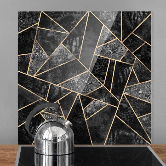 Spritzschutz Glas - Graue Dreiecke Gold - Quadrat 1:1
