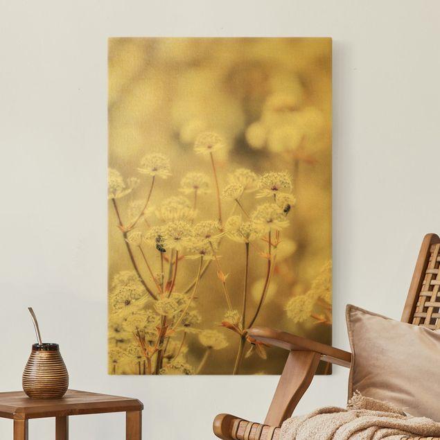 Leinwandbild Gold - Federleichte Wildblumen - Hochformat 2:3