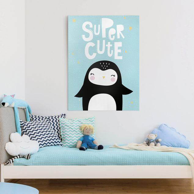 Leinwandbild - Super Cute Pinguin - Hochformat 4:3