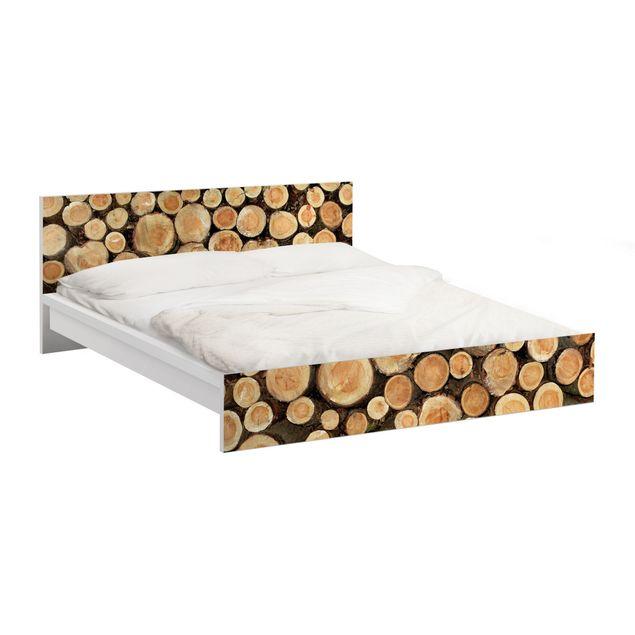 Möbelfolie für IKEA Malm Bett niedrig 160x200cm - Klebefolie No.YK18 Baumstämme