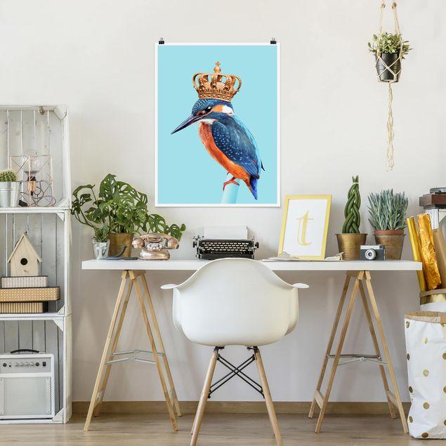 Poster - Jonas Loose - Eisvogel mit Krone - Hochformat 3:4