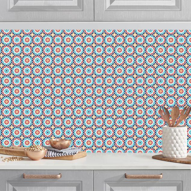 Küchenrückwand - Orientalisches Muster mit bunten Blüten