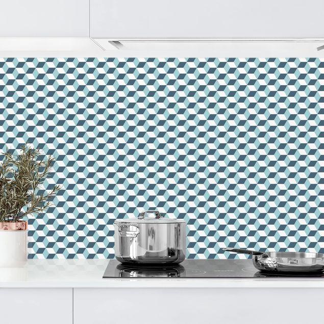 Küchenrückwand - Geometrischer Fliesenmix Würfel Türkis