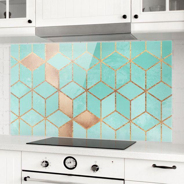 Spritzschutz Glas - Türkis Weiß goldene Geometrie - Querformat 1:2