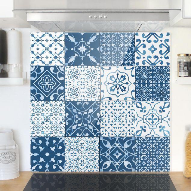 Glas Spritzschutz - Fliesen Mustermi: Blau Weiß - Quadrat - 1:1