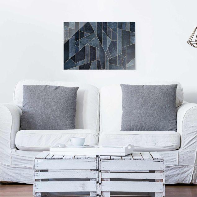 Glasbild - Blaue Geometrie Aquarell - Querformat 2:3