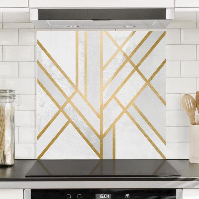 Spritzschutz Glas - Art Deco Geometrie Weiß Gold - Quadrat 1:1