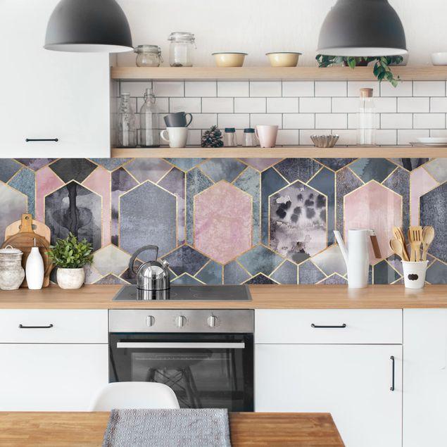 Küchenrückwand - Art Deco Marmor Gold