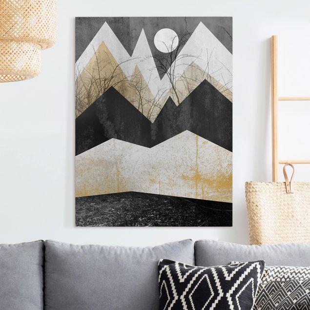 Leinwandbild - Goldene Berge Äste - Hochformat 4:3