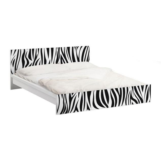 Möbelfolie für IKEA Malm Bett niedrig 140x200cm - Klebefolie Zebra Pattern
