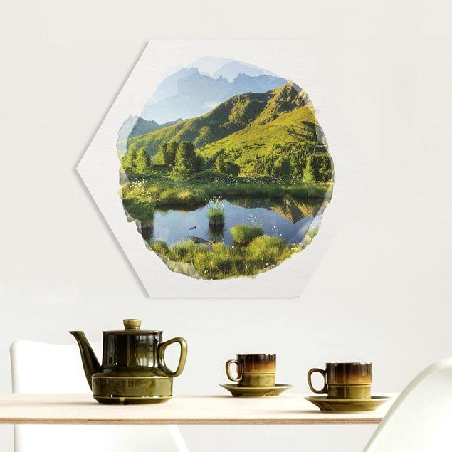 Hexagon Bild Forex - Wasserfarben - Blick vom Hirschbichl ins Defereggental