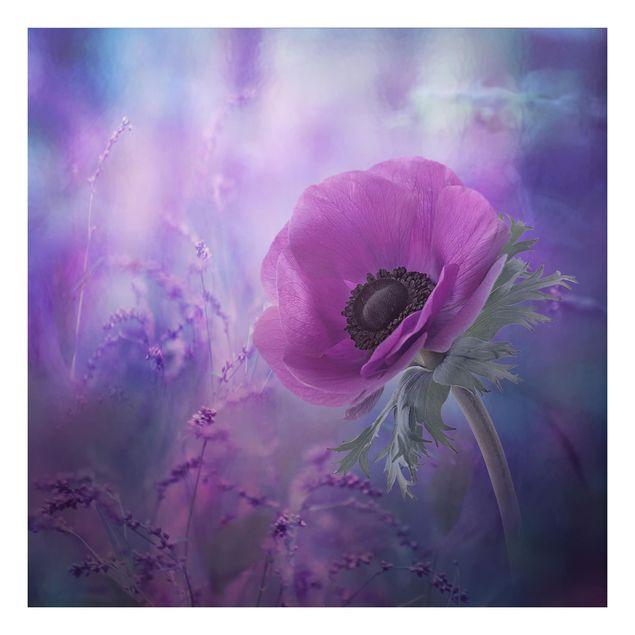 Beistelltisch - Anemonenblüte in Violett