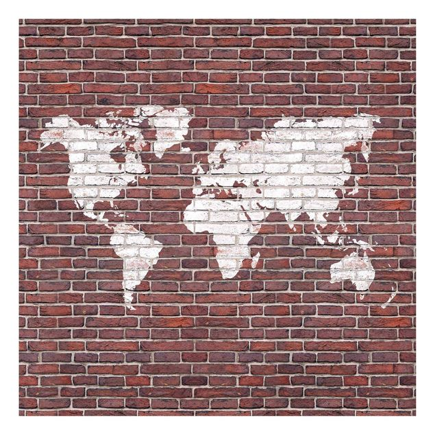 Beistelltisch - Backstein Weltkarte