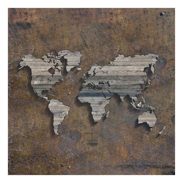 Beistelltisch - Holz Rost Weltkarte