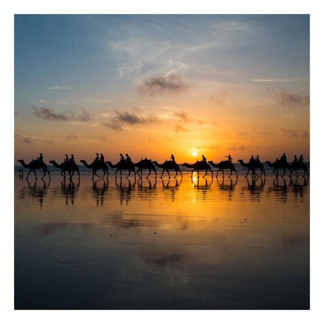 Beistelltisch - Kamele im Sonnenuntergang