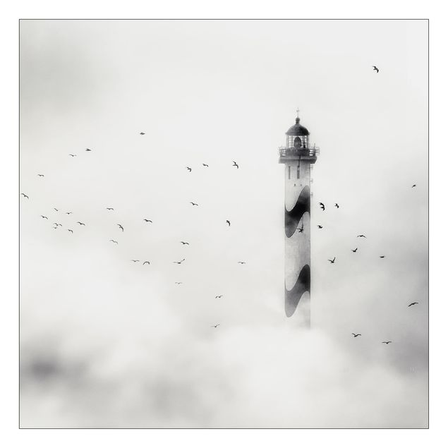 Beistelltisch - Leuchtturm im Nebel