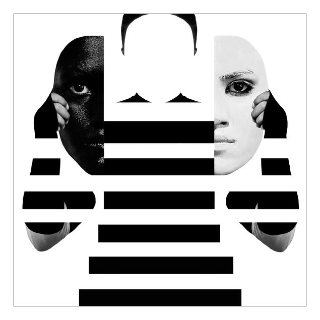 Beistelltisch - Masken in Schwarz-Weiß