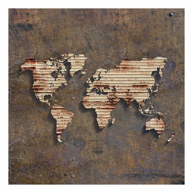 Beistelltisch - Rost Weltkarte