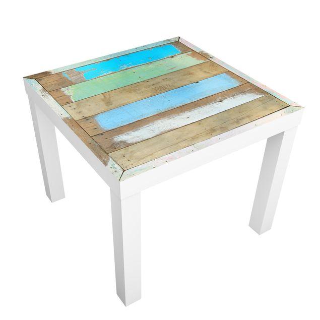 Beistelltisch - Shabby Holztischoptik mit maritimen Farben