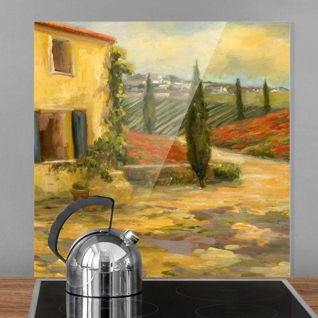 Glas Spritzschutz - Italienische Landschaft - Toskana - Quadrat - 1:1