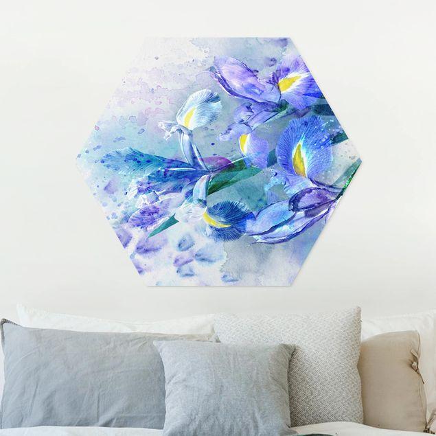Hexagon Bild Forex - Aquarell Blumen Iris