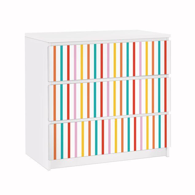 Möbelfolie für IKEA Malm Kommode - Klebefolie No.UL750 Stripes