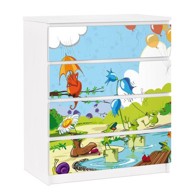 Möbelfolie für IKEA Malm Kommode - selbstklebende Folie No.NL1 Tierkonzert