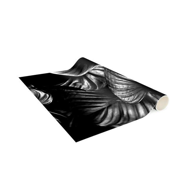 Vinyl-Teppich - Schwarz Weiß Botanik Hosta - Hochformat 1:2
