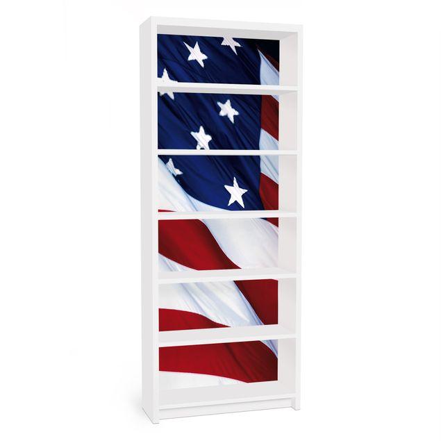 Möbelfolie für IKEA Billy Regal - Klebefolie Stars and Stripes