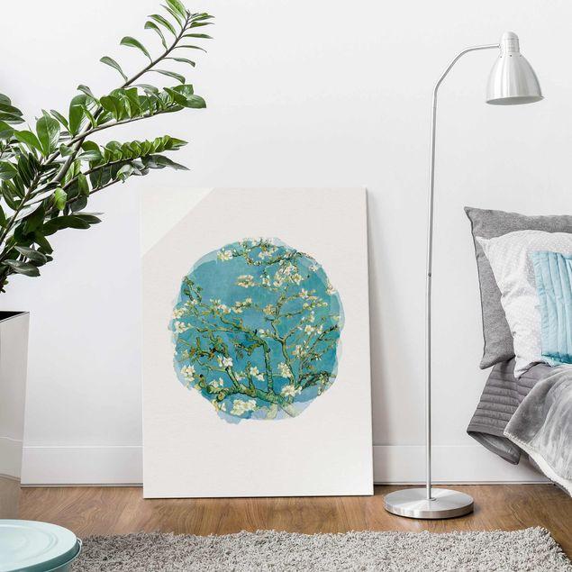 Glasbild - Wasserfarben - Vincent van Gogh - Mandelblüte - Hochformat 4:3