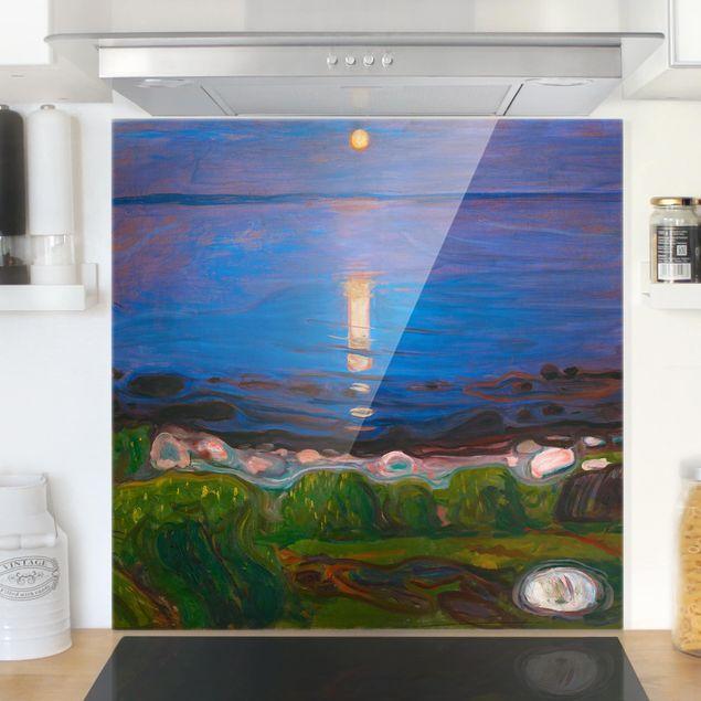 Glas Spritzschutz - Edvard Munch - Sommernacht am Meeresstrand - Quadrat - 1:1