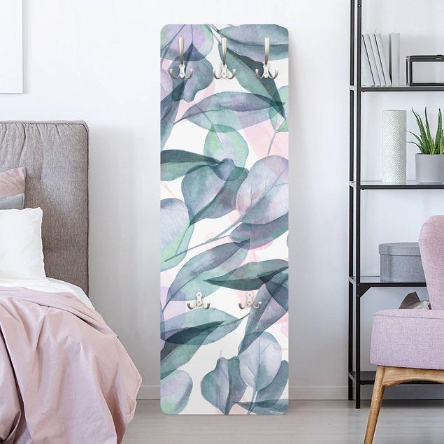 Garderobe - Blaue und Rosane Eukalyptus Aquarellblätter