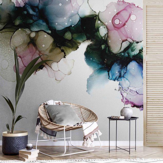 Metallic Tapete - Blumenbogen mit Gold