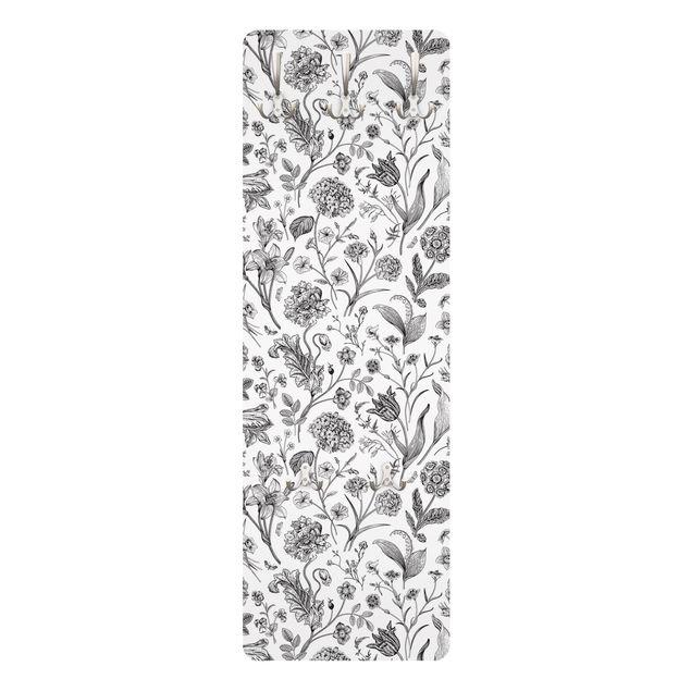 Garderobe - Blumentanz in Schwarz