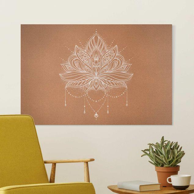 Leinwandbild - Boho Lotusblüte weiß Korkoptik - Querformat 3:2