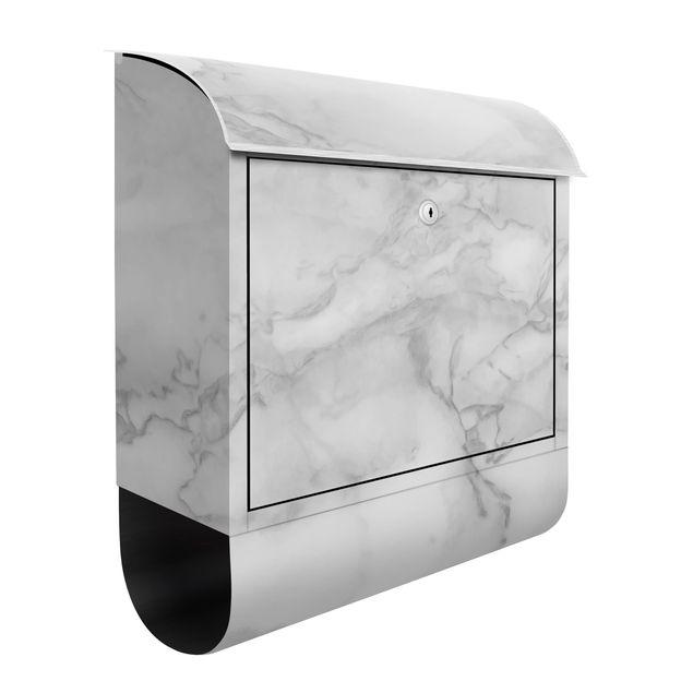 Briefkasten - Marmoroptik Schwarz Weiß - Briefkasten mit Zeitungsrolle