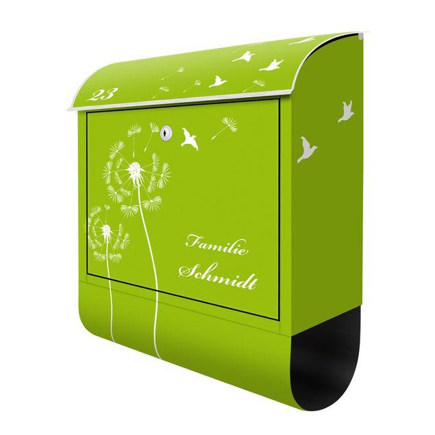 Briefkasten mit eigenem Text & Hausnummer - Pusteblumen Apfelgrün